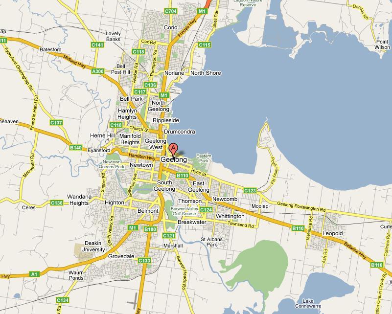Geelong Google Map - Copyright http://maps.google.com.au